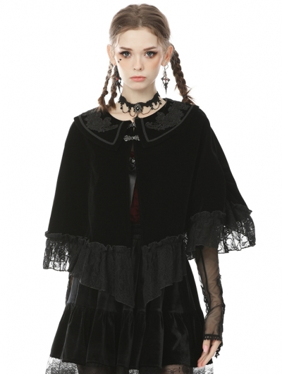 Black Vintage Gothic Court Velvet Shawl for Women