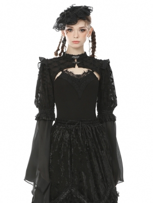 Black Vintage Gothic Long Puff Sleeve Cape for Women