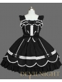 Black Cap Sleeves White Lace Sweet Gothic Lolita Dress