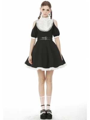 Black and White Sweet Gothic Off-the-Shoulder Short Daily Wear Dress