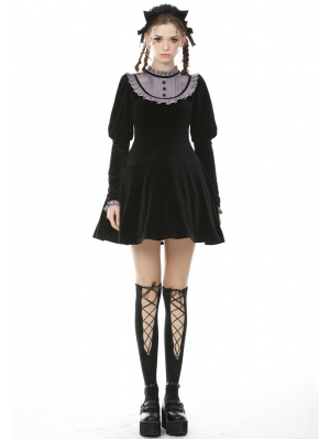 Black and Purple Gothic Doll Long Sleeves Short Daily Wear Dress