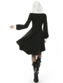 Black and White Retro Gothic Hooded High-Low Dress