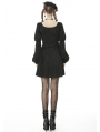 Black Vintage Gothic Long Puff Sleeve Short Casual Dress