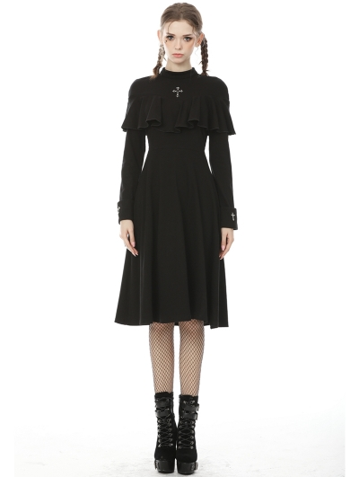 Black Vintage Gothic Cross Long Sleeve Midi Daily Wear Dress
