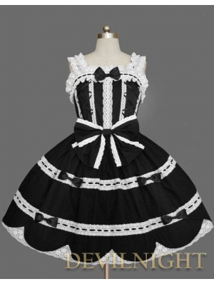 Black Sleeveless White Lace Sweet Gothic Lolita Dress