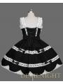Black Sleeveless White Lace Sweet Gothic Lolita Dress