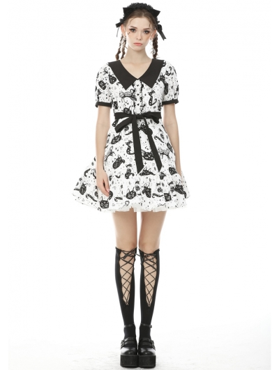 Black and White Gothic Grunge Printed Short Daily Wear Dress