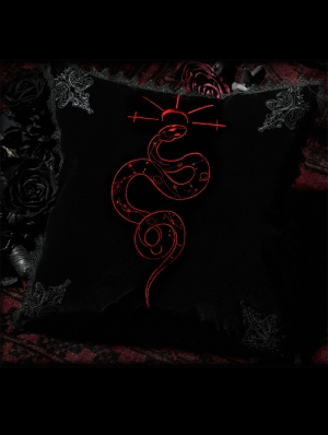 Black Gothic Serpent Embroidered Holp Pillow/Cushion