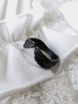Black Vintage Gothic Wing Ring