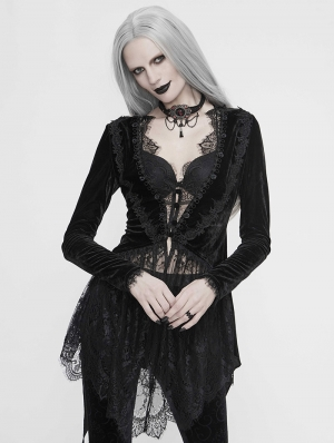 Black Vintage Gothic Sexy Velvet Lace Jacket for Women
