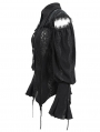 Black Vintage Gothic Hollowed-out Long Sleeve Blouse for Women