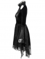 Black Sexy Gothic Hollwed-out Velvet Lace High-low Dress