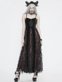 Black and Red Vintage Gothic Velvet Long Party Dress