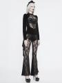 Black Sexy Gothic Velvet Long Sleeve T-Shirt for Women