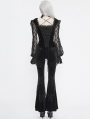 Black Vintage Gothic Sexy Velvet Lace Long Sleeve Top for Women