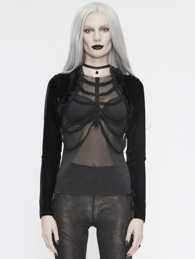 Black Gothic Sexy Transparent Long Sleeve Top for Women