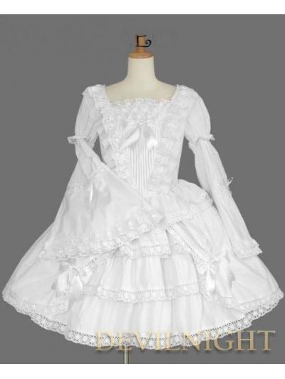 White Long Trumpet Sleeves Sweet Lolita Dress