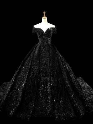 Black Gothic Shining Princess Ball Gown Wedding Dress