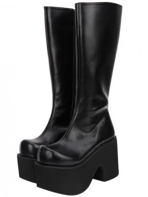 Black Gothic Grunge Punk PU Leather Platform Knee Boots for Women