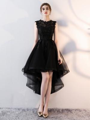 Black Gothic Sleeveless Lace High-Low Wedding Dress