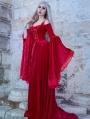 Red Velvet Off-the-Shoulder Renaissance Fairy Tale Medieval Dress