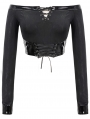 Black Gothic Punk Off-the-Shoulder Long Sleeve Short T-Shirt for Women