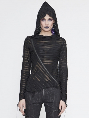 Black Gothic Punk Asymmetric Long Sleeve Hooded Top for Women