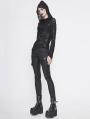 Black Gothic Punk Asymmetric Long Sleeve Hooded Top for Women