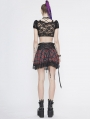 Black and Red Plaid Fashion Gothic Grunge Short Top for Women