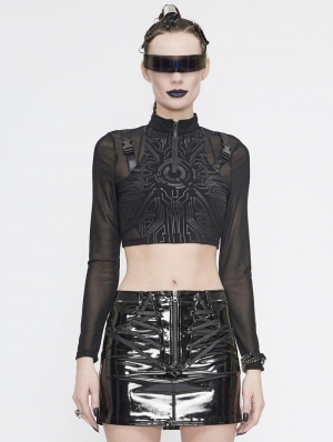 Black Gothic Punk Long Sleeve Short T-Shirt for Women