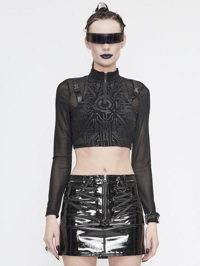 Black Gothic Punk Long Sleeve Short T-Shirt for Women