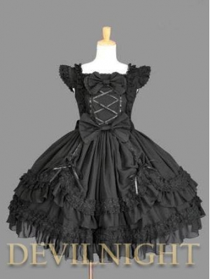 Black Ruffled Cap Sleeves Sweet Bow Gothic Lolita Dress