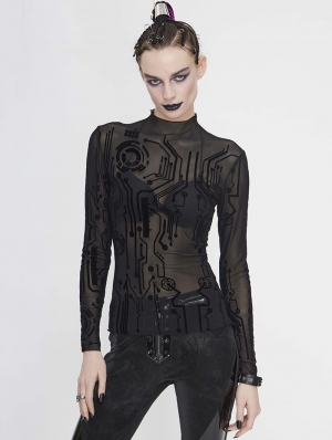 Black Gothic Punk Sexy Net Long Sleeve T-Shirt for Women