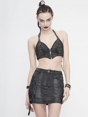 Black Gothic Punk Sexy Vest Top for Women