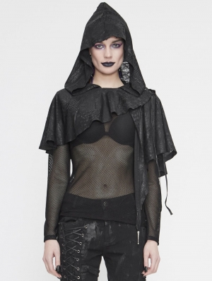 Black Gothic Asymmetrical Hooded Short Cape for Women