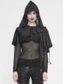 Black Gothic Asymmetrical Hooded Short Cape for Women