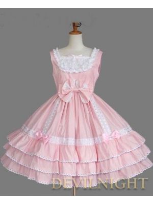 Pink and White Sleeveless Lace Bow Sweet Lolita Dress