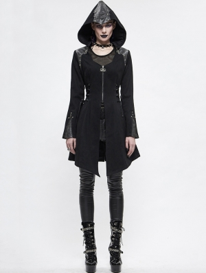Black Women's Gothic Punk Long Sleeve Jacket with Detachable Hood