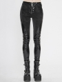Black Gothic Punk PU Leather Long Trousers for Women