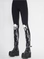 Black Gothic Punk Skull Pattern Long Legging for Women