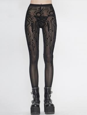 Black Gothic Sexy Transparent Net Legging for Women