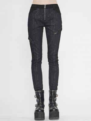 Black Gothic Punk Long Slim Trousers for Women