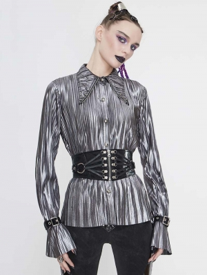 Silver Gothic Punk Long Sleeves Shirt for Women