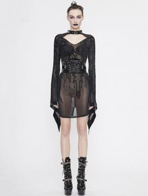 Black Gothic Sexy Transparent Net Long Sleeve Short Dress