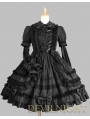 Black Long Sleeves Bow Sweet Gothic Lolita Dress