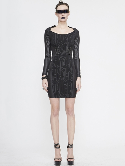 Black Sexy Gothic Punk Long Sleeve Short Dress