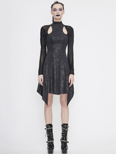 Black Gothic Hollowed-out Long Sleeve Asymmetrical Dress