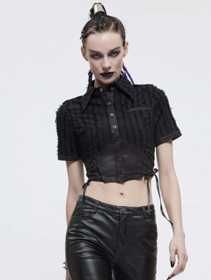 Black Sexy Gothic Punk Short Sleeve Shirt for Women