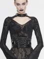 Black Gothic PU Leather Wide Waitband for Women