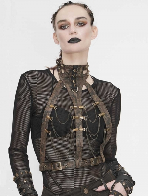 Brown Steampunk Chain Harness Belt for Women
